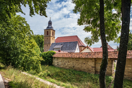BAD RODACH, GERMANY - CIRCA AUGUST, 2019: The Wallgraben and town wall of Bad Rodach, Bavaria, Germany