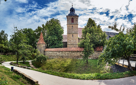 The Wallgraben and town wall of Bad Rodach, Bavaria, Germany