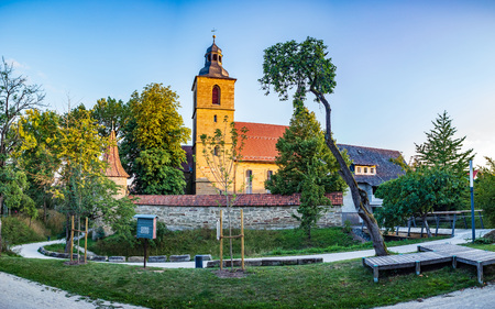 The St. Johannis church behind  the town wall of Bad Rodach, Bavaria, Germany Editorial
