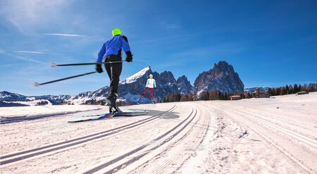 The skiing area Groeden with St. Ulrich, St. Christina and Wolkenstein areas in Dolomite Alps, South Tyrol, Italy Imagens