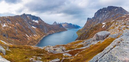 The landscape view of Senja Island from mountain Keipen in Norway