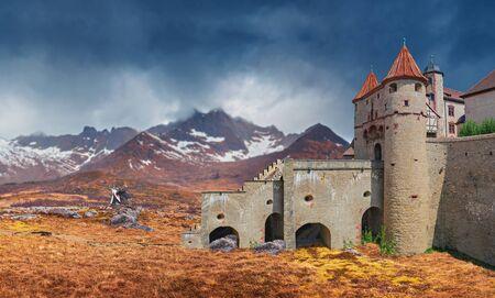 A fantasy landscape of a mountainous rough country with a castle Фото со стока