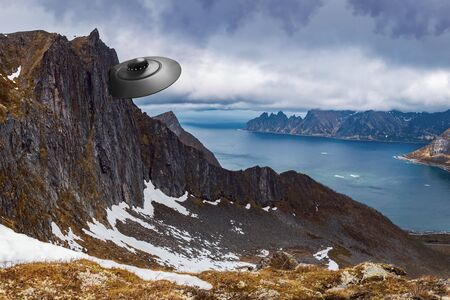 An on approach crashed UFO in the northern fjord area Фото со стока