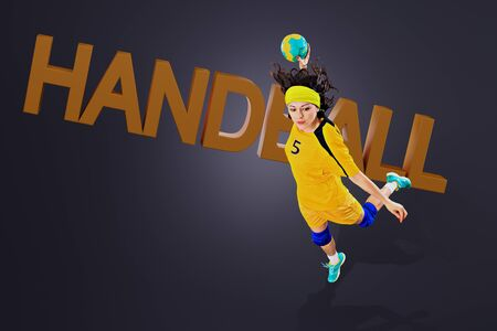 female handball player with a ball in action