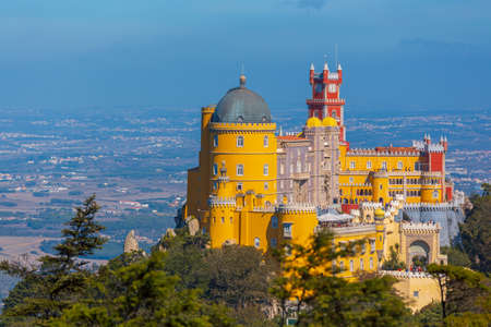 Pena Park with National Palace of Pena in Sintra, Portugal