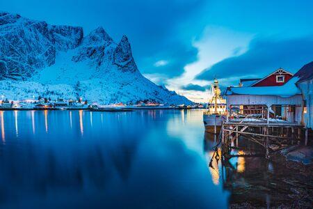The fisherman village Reine on Lofoten Islands by night, Norway
