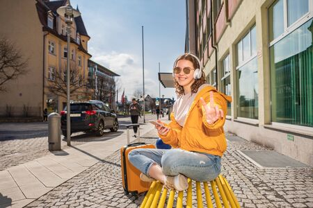 Portrait of a teenage girl on the trip in a german town Imagens - 143138195