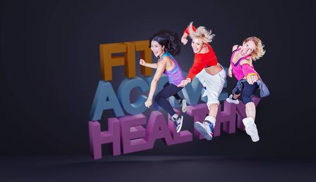 female fitness instructors in sport dress at an aerobic