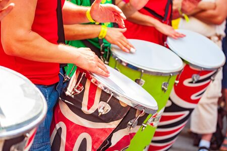 The samba musicians participates at the annual samba festival in Coburg, Germany