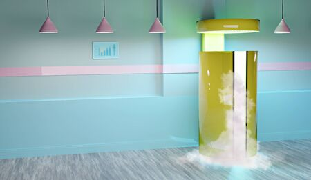 3D illustration of a cryosauna room or cryotherapy or freezing cabinet Imagens
