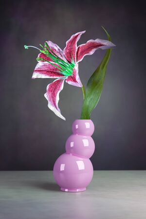 simple still life of a lily flower in a vase