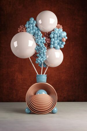 3D illustration with simple still life of a plastic flower in a futuristic vase Imagens
