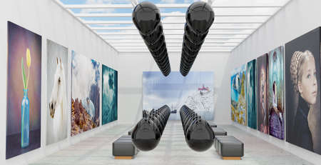 An art gallery with canvas and abstract installation, 3D illustration