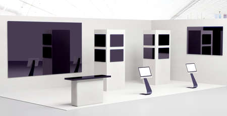 An exhibition booth with screens and reception desk, 3D illustration
