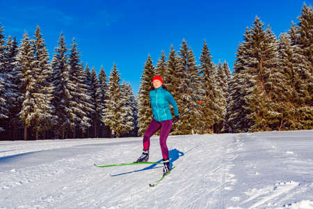 A woman at cross-country skiing or langlauf running in the wintry forest Imagens