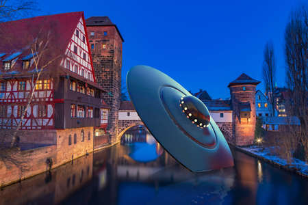 An on approach crashed UFO in Nuremberg town, Germany Imagens