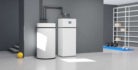 A modern heating system for private households, 3D illustration