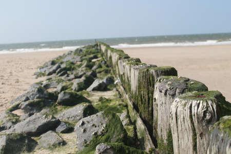 breakwater at the beach photo