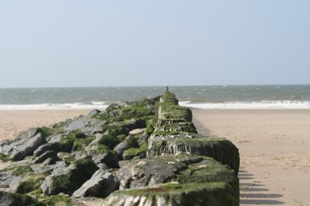 breakwater: breakwater at the beach Stock Photo