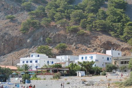 samaria:  agia roumeli, end of the samaria gorge  Stock Photo