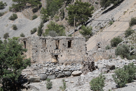 samaria: house in Samaria gorge, crete Stock Photo
