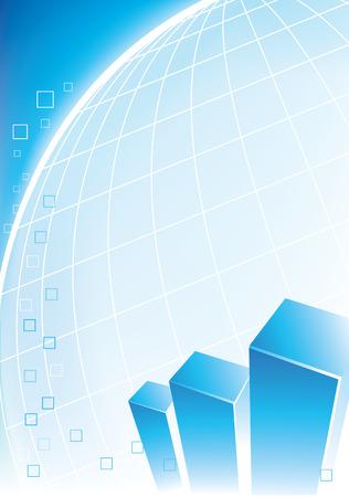 Azul de diseño corporativo con los gráficos y un globo Foto de archivo - 4704908