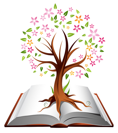stories: Illustration of a tree with coloured leaves growing out of an open book Illustration