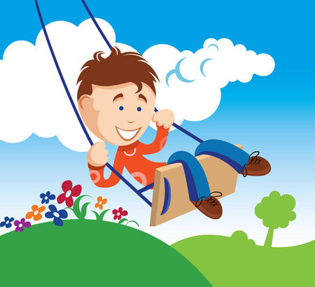 idyll: An illustration of a young boy on a swing