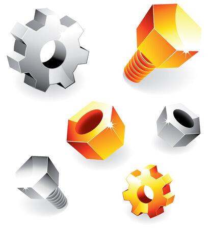 fastening: Vector set of various metal design elements