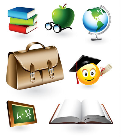 student with books: Vector set of seven detailed educational design elements