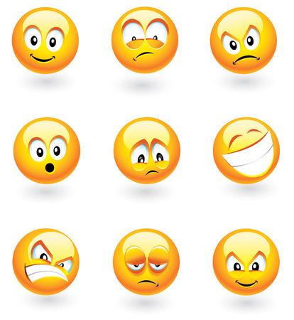 maliziosa: Set di nove smilies con diverse espressioni