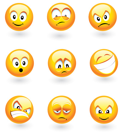 mischievous: Set of nine smilies with different expressions