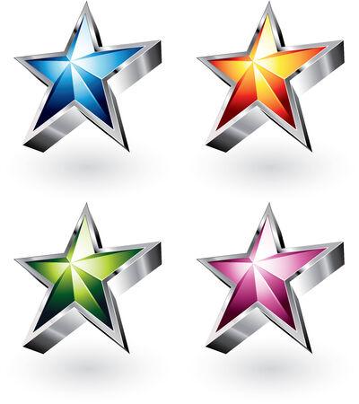 크롬 테두리가있는 밝은 별의 4 가지 색상 변형