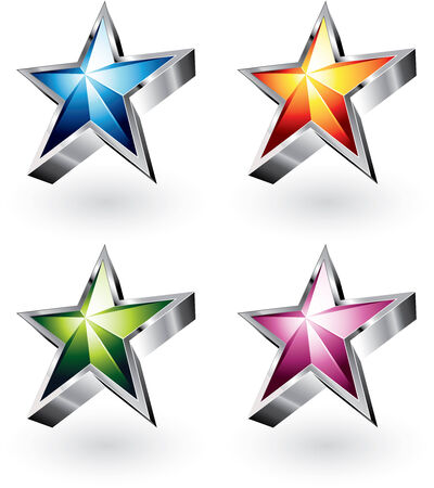 star rating: Four color variations of a bright star with a chrome border Illustration