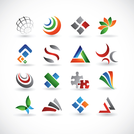 A set of 16 abstract design elements in various colors Vector