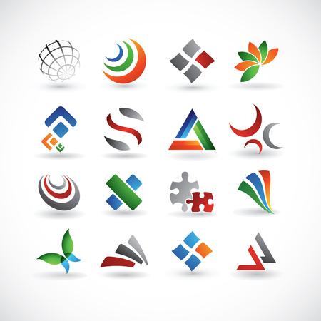 tri�ngulo: Un conjunto de 16 elementos de dise�o resumen en varios colores Vectores