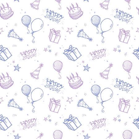 A seamless hand drawn vector background - birthday theme