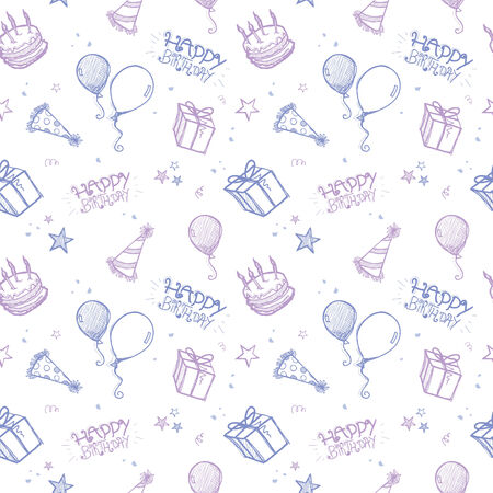A seamless hand drawn vector background - birthday theme Vector