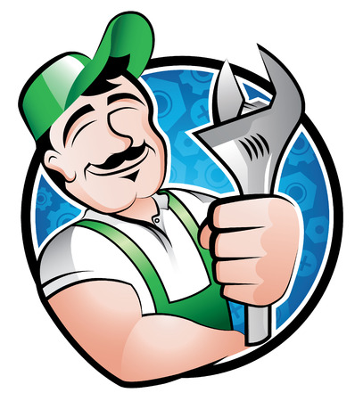 plumbers: A cartoony illustration of a man holding a spanner