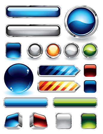 Large collections of glossy and metallic buttons for websites Illustration