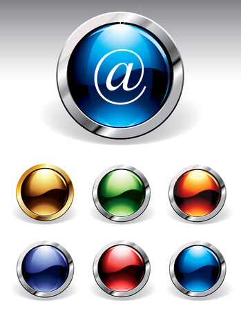 reflective: Set of reflective web buttons in six colours. Please visit my portfolio to find similar graphics.