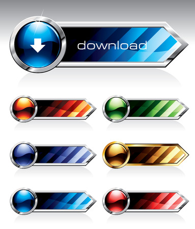 Set of reflective web buttons in six colours. Please visit my portfolio to find similar graphics.