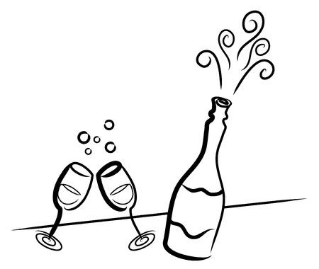 Simple dibujo de una botella de champán y dos vasos