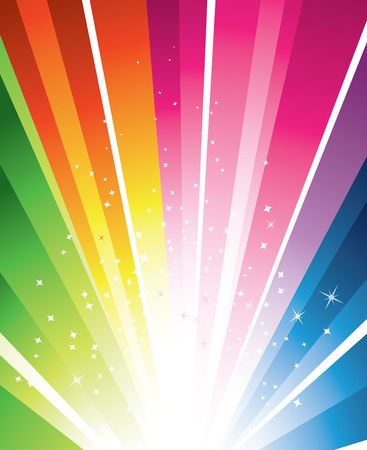 A colourful design with a burst and stars Vector