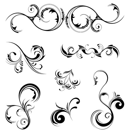 ornate swirls: A set of various detailed floral design elements, all grouped individually.