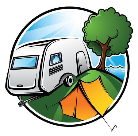 Un área de camping y Bungalows idílico con una caravana, una tienda de campaña y un árbol en un día soleado Ilustración de vector