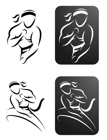 brawny: Four stylized illustrations of a man performing karate