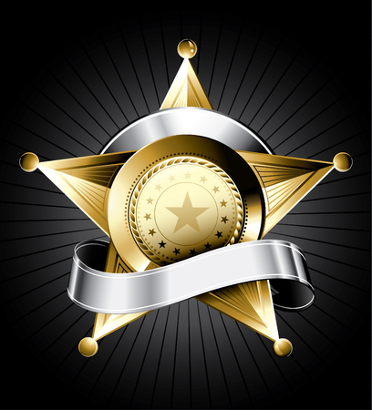Golden sheriff badge design with a silver ribbon for text Vector