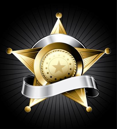 sheriff badge: Placa de oro al sheriff de dise�o con una cinta de plata para el texto Vectores