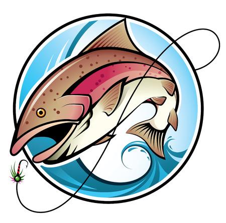 Illustratie van een regenboog forel springen uit het water Vector Illustratie